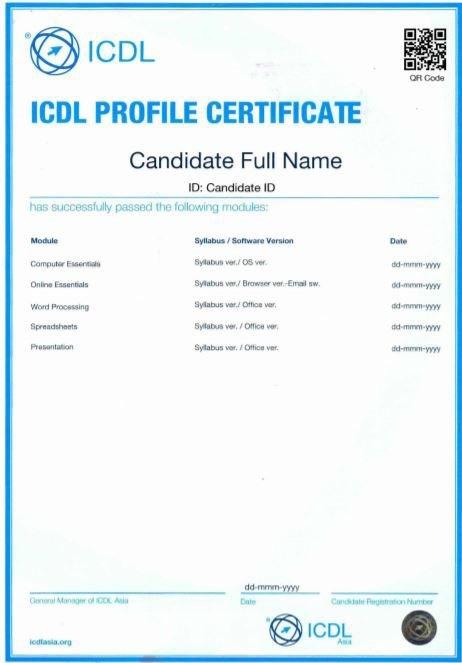 mẫu chứng chỉ tin học quốc tế ICDL trường Trung cấp Công nghệ và Quản trị Đông Đô